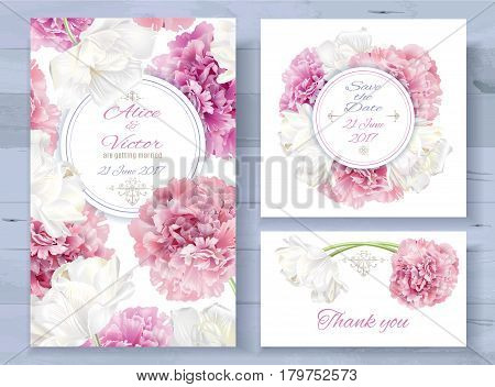 Vector wedding invitations set with pink peony and white tulip flowers on white background. Romantic tender floral design for wedding invitation, save the date and thank you cards. With place for text