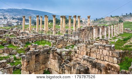 Travel to Middle East country Kingdom of Jordan - view of ruins of temple in ancient Gerasa town in Jerash city in winter stock photo