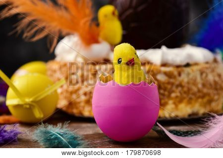 closeup of a toy chick emerging from a pink egg, some easter eggs and feathers of different colors on a wooden surface and a mona de pascua, a cake eaten in Spain on Easter Monday, in the background stock photo