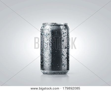 Blank black cold aluminium soda can mockup with drops 330 ml 3d rendering. Empty fresh fizzy pop packing mock up with condensate isolated on white. Canned dripping drink template. Cool tin package. stock photo