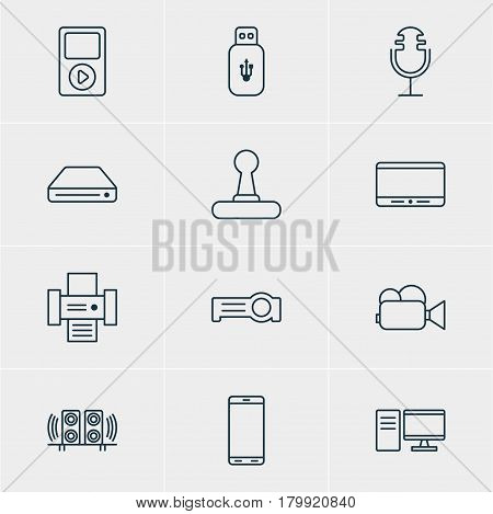 Vector Illustration Of 12 Accessory Icons. Editable Pack Of Game Controller, Memory Storage, Usb Card And Other Elements.