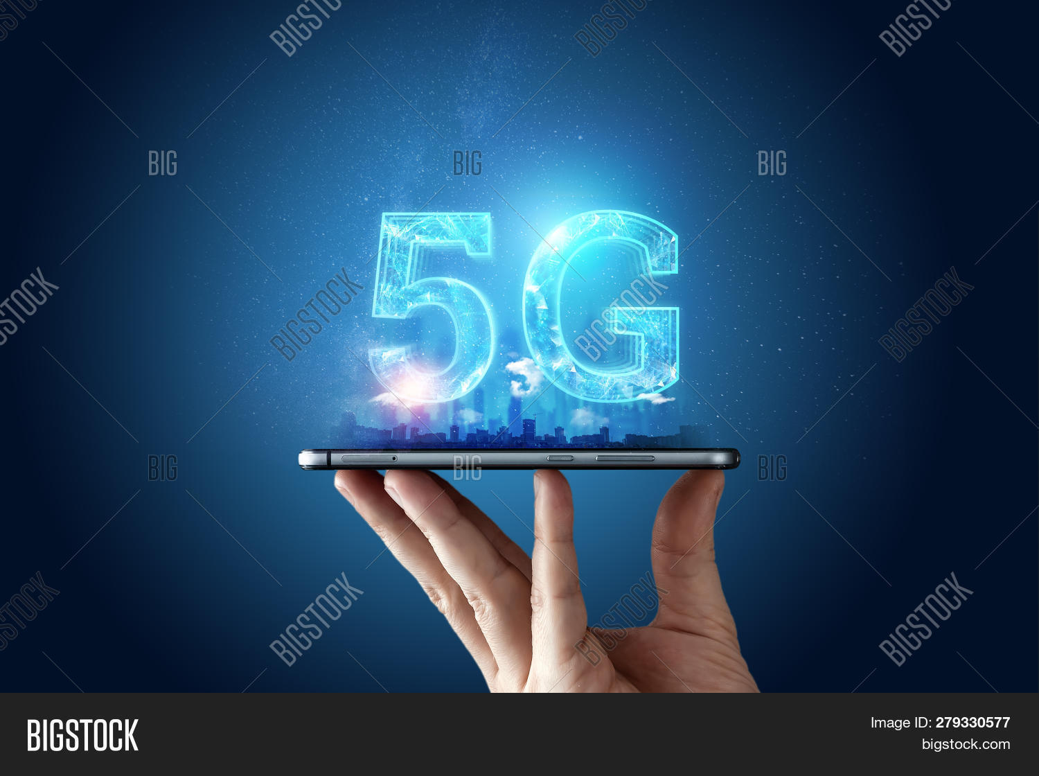 Creative Background, Male Hand Holding A Phone With A 5G Hologram On The Background Of The City. The