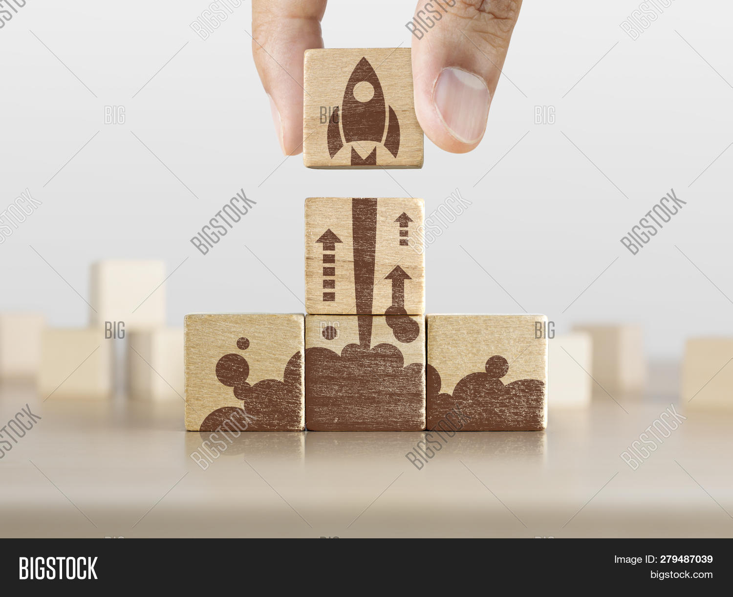 Business Start Up, Start, New Project Or New Idea Concept. Wooden Blocks With Launching Rocket Graph