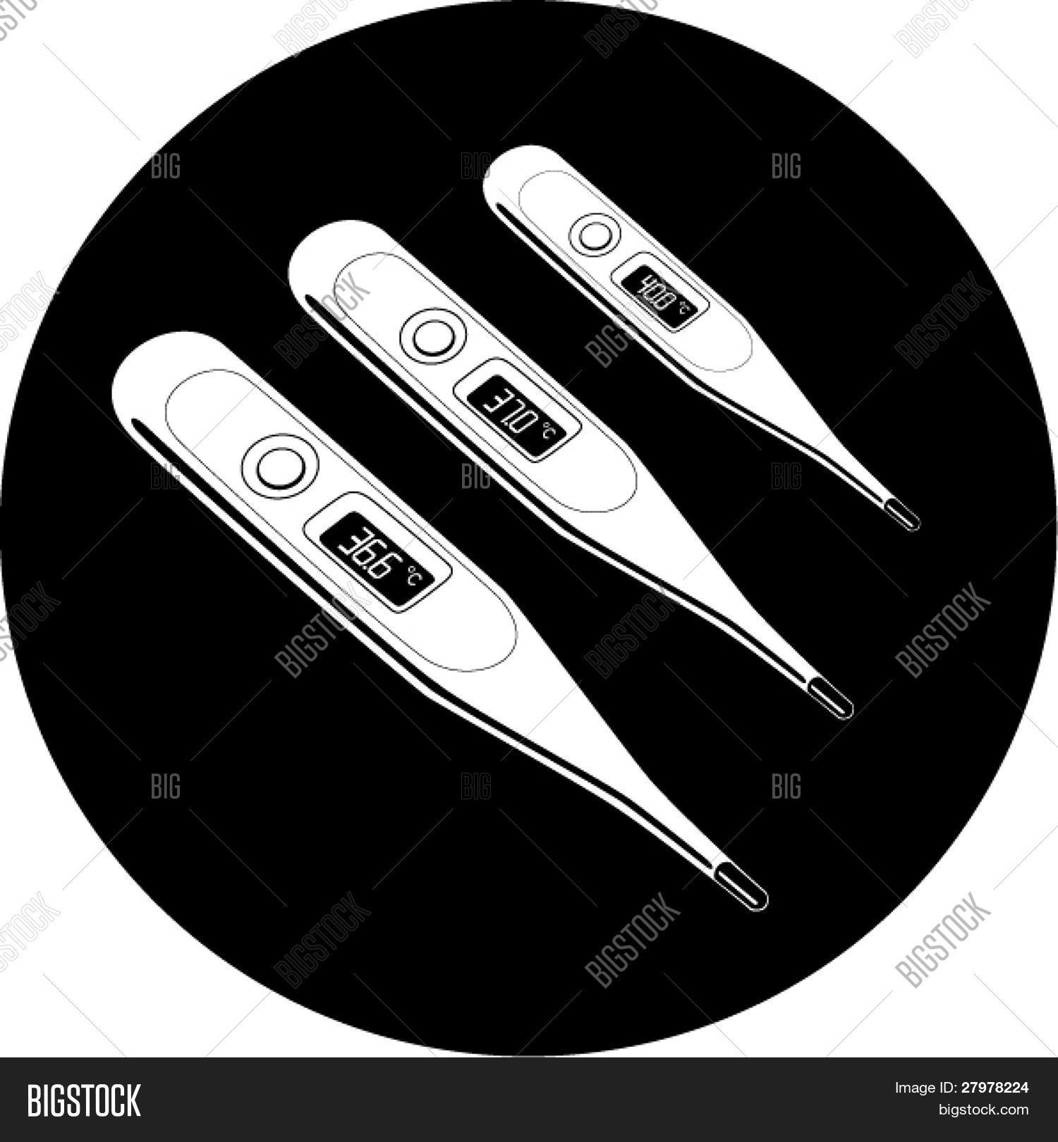 Vector thermometers icon. Shows 36.6, 37 and 40 degrees Celsius. Black and white. Simply change. In my portfolio there is version 4 in 1.
