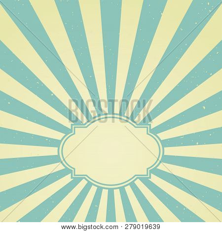 Sunlight retro faded grunge background with vintage frame for text. blue and beige color burst background. stock photo