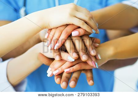 Health Care. Doctors working together as team for motivation, success medical health care for patient, Medicine doctors working concept in hotpital. Medical Concept stock photo