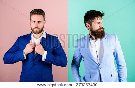 Business people fashion and formal style. Business partners with bearded faces. Business fashion luxury menswear. Formal outfit for manager. Businessman stylish appearance jacket pink blue background stock photo