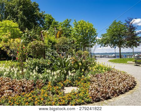 Lake Constance, Bodensee promenade view with alley flowers in Bregenz, Austria on a sunny June day stock photo