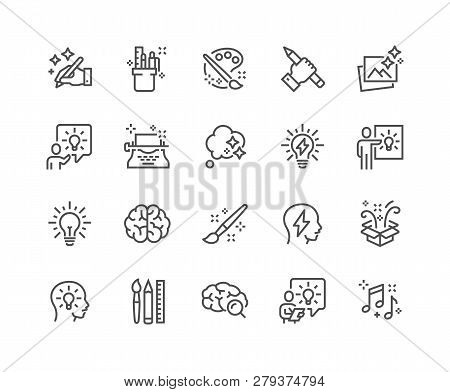 Simple Set Of Creativity Related Vector Line Icons. Contains Such Icons As Inspiration, Idea, Brain