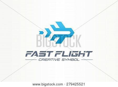 Fast flight creative symbol travel concept. High speed plane abstract business aviation logo. Jet arrow rocket route way, airplane trip ticket icon. stock photo