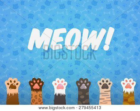 Cat Paw Flat Background. Cats Cartoon Pet Paws, Print Kitten Texture, Pets Shelter Poster