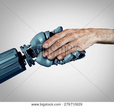 Senior care and future technology as an old Alzheimer patient or elderly dementia homecare as a supportive caregiver robot assistant providing end of life aging support  with 3D Illustration elements concept. stock photo