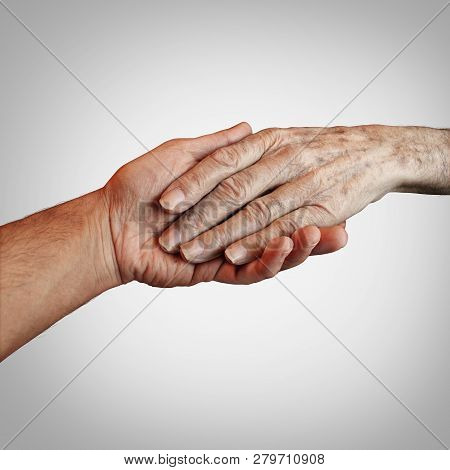 Alzheimer patient care or elderly dementia homecare as a supportive caregiver providing end of life support. concept. stock photo