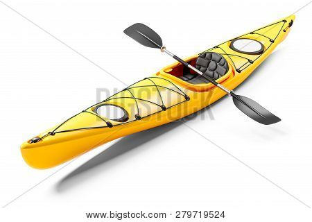 Yellow sea kayak and oars 3D. Isolated on white background stock photo