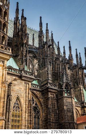 Details of the facade of the Metropolitan Cathedral of Saints Vitus, Wenceslaus and Adalbert in Prague stock photo