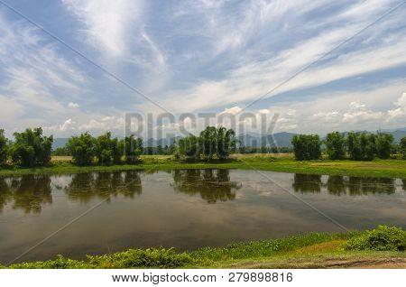 Waterbody and Bamboo Groves near Brahmaputra River, Assam, India stock photo