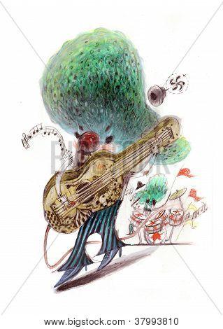 Guitariste de rock jouant