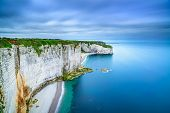 Etretat, Rock Cliff And Beach. Flying View. Normandy, France