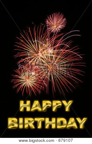picture of fireworks with text happy birthday in gold stock photo