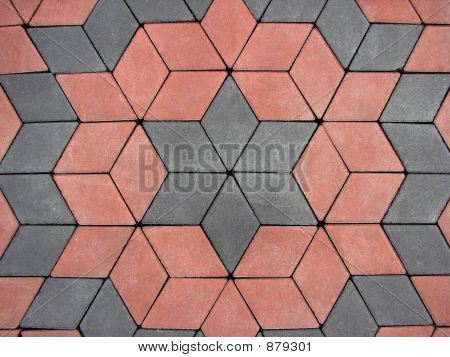 red and grey block paving background - garden pavement stock photo