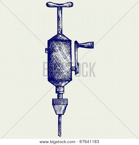 Hand drill. Doodle style. Isolated on gray background stock photo