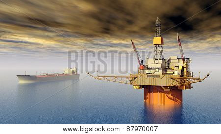 Computer generated 3D illustration with Supertanker and Oil Platform stock photo