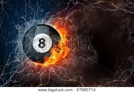 Billiard ball on fire and water with lightening around on black background. Horizontal layout with text space. stock photo