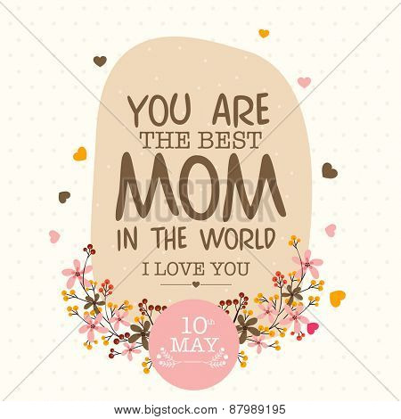 Colorful flowers decorated greeting or invitation card design for 10th May, Happy Mother\'s Day celeb