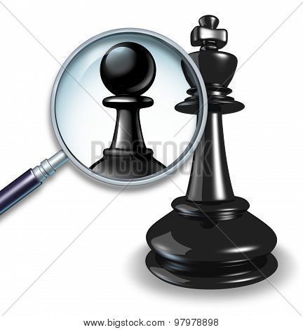 Not a leader business concept with a chess game king and a magnifying glass showing a change to a pawn follower or employee figure as a symbol of failed leadersip and lack of management skill. stock photo