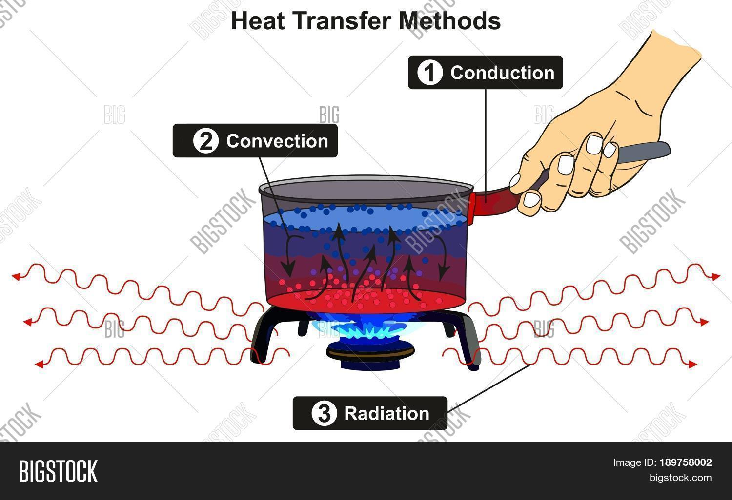 Heat Transfer Methods Infographic Diagram Including Conduction