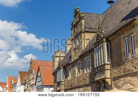 Decorated facades at the central market square of Stadthagen Germany stock photo