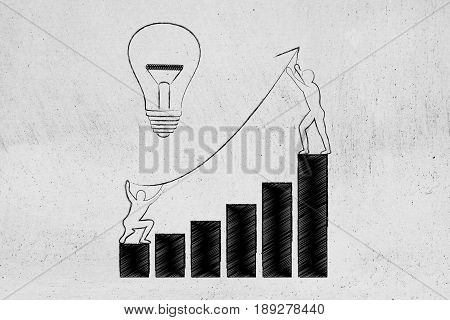 men setting up an arrow up a business growth graph next to lightbulb concept of taking good entrepreneurial decisions and fixing a company situation stock photo