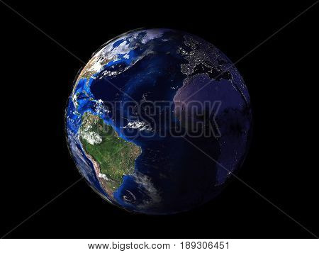 planet earth on black background view from space 3d stock photo