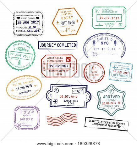 Set of isolated visa passport stamps for travel to USA, Sydney city in Australia or France. Tourism sign, arrival document stock photo