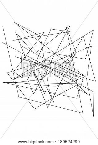Chaotic random, irregular, edgy lines. Abstract geometric background with broken curves for creating textures. Art-like modern vector illustration. Dynamic style. Black on white color. stock photo
