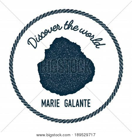 Marie-Galante map in vintage discover the world insignia. Hipster style nautical postage stamp with round rope border. Vector illustration. stock photo