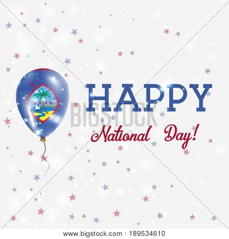 Guam National Day patriotic poster. Flying Rubber Balloon in Colors of the Guamanian Flag. Guam National Day background with Balloon Confetti Stars Bokeh and Sparkles. stock photo