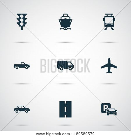 Transportation Icons Set. Collection Of Aircraft, Road Sign, Tanker And Other Elements. Also Includes Symbols Such As Truck, Cargo, Van. stock photo