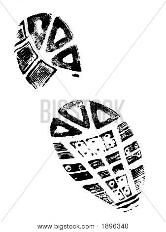 Isolated BootPrint - Highly detailed vector of a walking shoe. stock photo