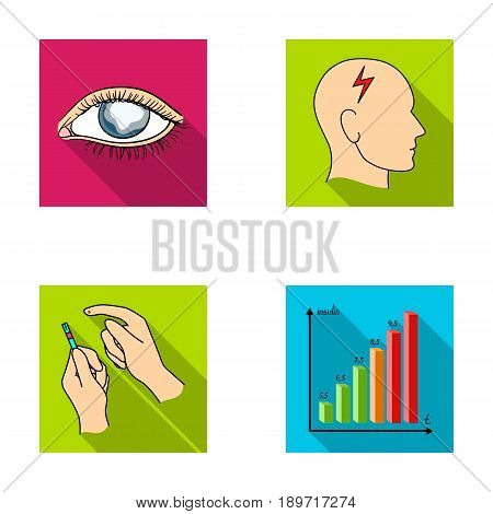 Poor vision, headache, glucose test, insulin dependence. Diabetic set collection icons in flat style vector symbol stock illustration . stock photo