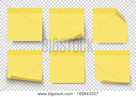 Yellow sticky notes. Vector illustration isolated on white background. Sticky note set with curled corners and shadows. stock photo
