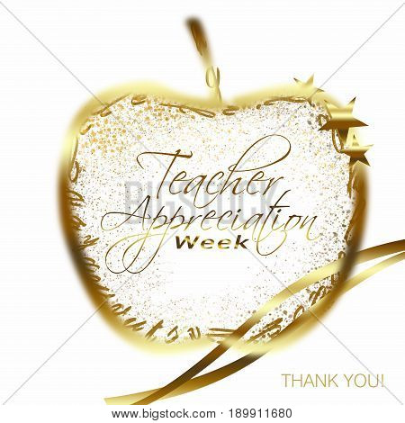 Teacher Appreciation Week Text On A Gold Apple Surrounded By Alphabets