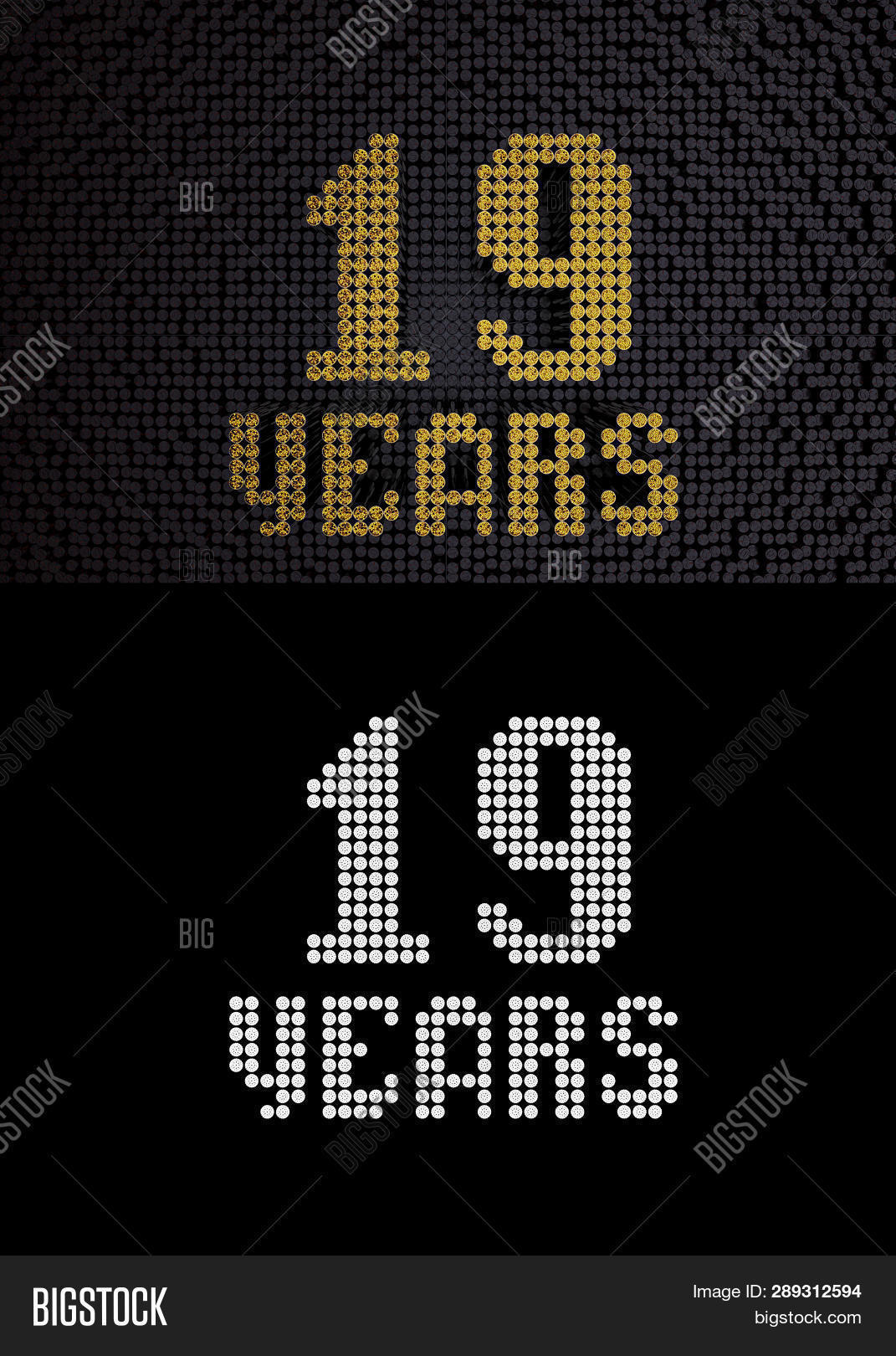 Golden Number Nineteen Years (number 19 Years) Dotted Font, Top View, With Dark Zero And One Backgro