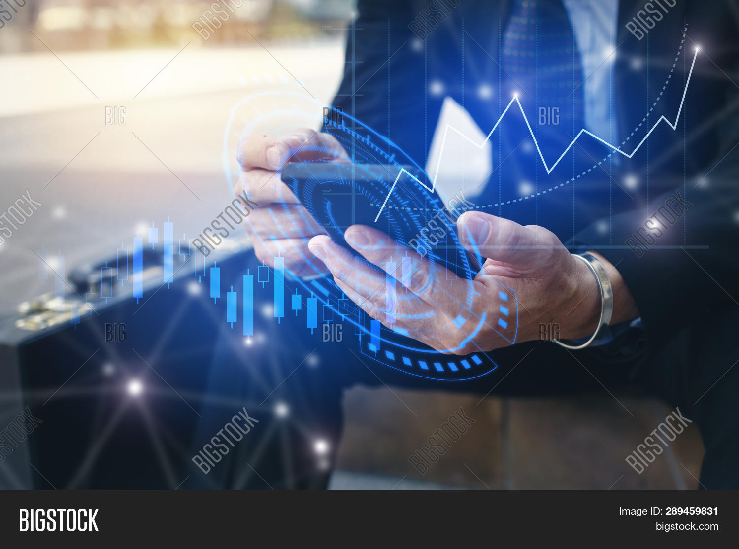 Young Investor Or Business Man Using Mobile Phone With Graphic Global Network Connection And Graph C