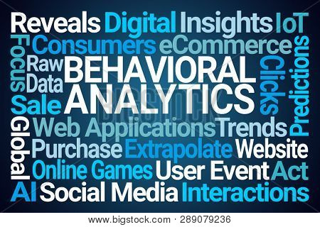 Behavioral Analytics Word Cloud on Blue Background stock photo