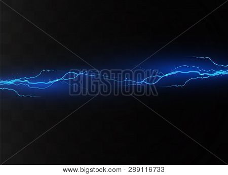 Lightning on a transparent background. Electric discharge and current. Magic and bright lighting effects. light blue. Vector illustration stock photo