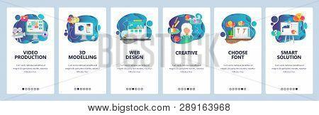 Mobile app onboarding screens. Video production, 3d modelling, creative web design. Menu vector banner template for website and mobile development. Web site design flat illustration stock photo