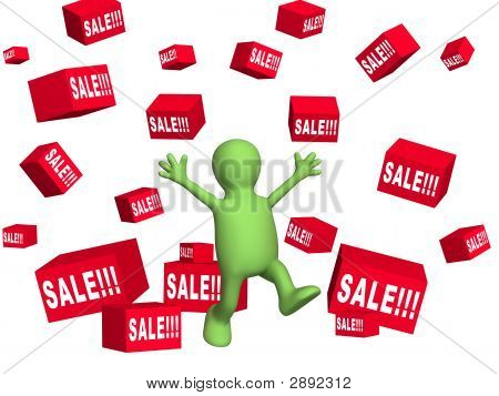 Happy 3d person - puppet making shopping. Objects over white stock photo