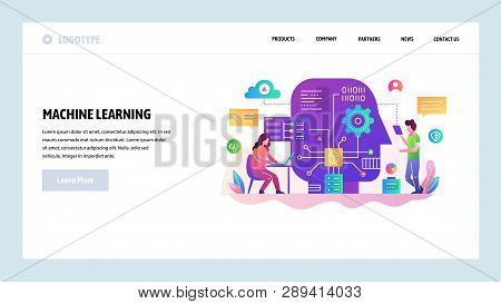 Vector web site design template. Machine learning and AI artificial intellegence, robot technology, big data science. Landing page concepts for website and mobile development. Modern flat illustration stock photo
