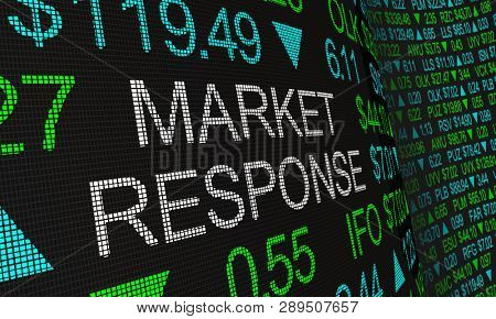 Market Response Stock Ticker Wall Activity 3d Illustration stock photo